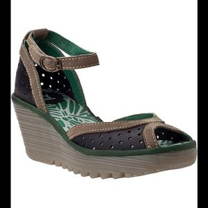 Fly London  Yoda Perforated-Leather Wedges size 41
